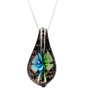 Distinctive Decorative Blue & Green Flower Venetian Murano Glass Teardrop Shaped Pendant / Necklace